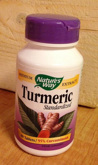 Turmeric - gurkemeie tabletter kjøpt på Kinsarvik helsekost. Foto: Lena Borge