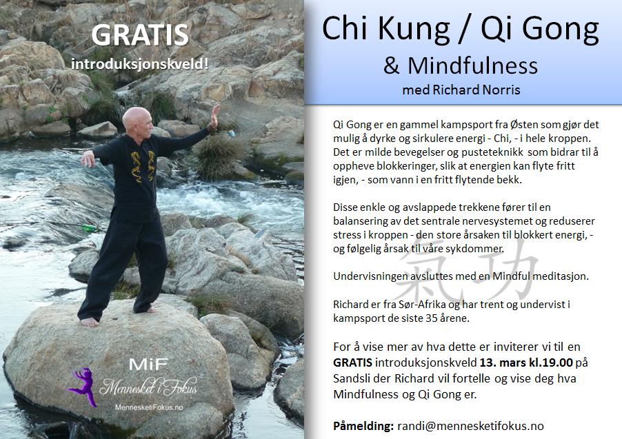 Gratis introduksjon av Qi Gong og Mindfulness 13.mars 2014. Laget av Lena Borge